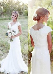 Buttoned Back Wedding Dresses Australia - Western Mermaid Country Style Wedding Dresses With Sleeves V Neck Button Back Retro Boho Wedding Dress southern Australia Reception Gowns