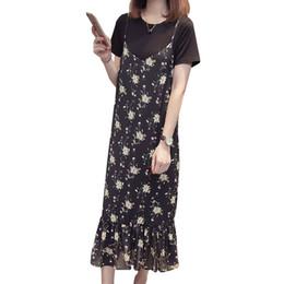 fcebc6673ef7 Summer Women Long Dress New Fashion Floral Halter 2 Piece Set Women Plus  Size Loose Short Sleeve Sweet Frocks Robe Femme Vestido