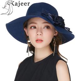 0a626c39b14ec Kajeer Blue Elegant Straw Hat For Women Summer Beach Hats Party Wide  Brimmed Female Visor Bows Flower Design Floppy Straw Caps