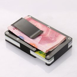 Block Clamp Australia - Men Metal Mini Money Clamp Fashion Wallet Credit Card Holder Aluminum Money Bag Wallet With Blocking Travel Porte Carte Holder