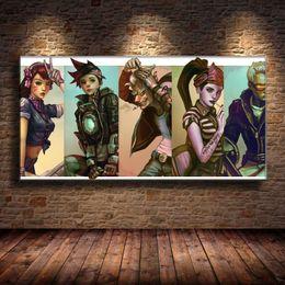 $enCountryForm.capitalKeyWord NZ - (Unframed Framed) Five Anime Character,1 Pieces Canvas Prints Wall Art Oil Painting Home Decor 24X48.