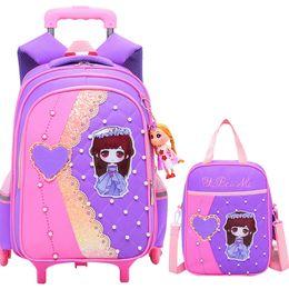 $enCountryForm.capitalKeyWord NZ - Cartoon Children School Bags Set Mochilas Kids Backpacks With 2 6 Wheels Trolley Luggage For Girls Backpack Wholesale