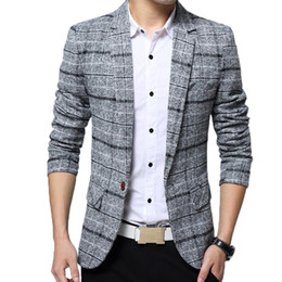 Spring Slim Blazers Australia - Blazer Men Slim Fit Suits Jacket Brand Clothes Mens Formal Spring Autumn Coat Casaco Masculino Male Casual Plaid Blazers Jackets