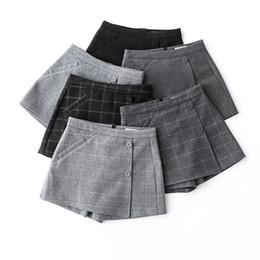 20cd056303 Autumn Women's Plaid Shorts Korean High Waist A Line Wool Shorts Skirts  2018 Winter Slim Outwear Thicken Warm Booty Short Pants S430