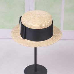 korean gardening hat NZ - Korean version of natural straw straw bow knot short eaves beach sunshade flat top hat fcmMG-220