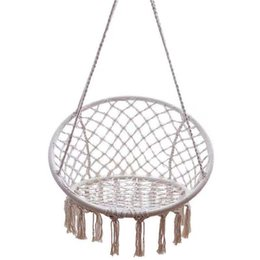outdoor patio swings UK - Nordic Outdoor Hammocks europfine Indoor Cotton Woven Basket Tassel Swing hanging chair outdoor patio furniture swings