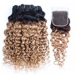 Ombre hair 1b 27 18 inch online shopping - Kiss hair B Ombre Honey Blonde Water Wave Human Hair Weave Bundles with Lace Closure Brazilian Virgin Hair