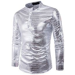 $enCountryForm.capitalKeyWord Australia - Snakeskin Shirt Men Pullover Shirts Novelty Blouse Male England Style New Arrival Big Size Loose Blusa Long Sleeve Party Clothes