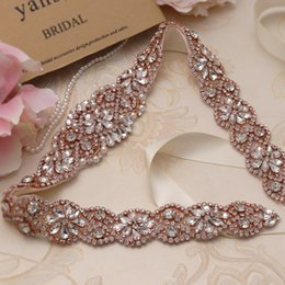 ec1bc126ef51 MissRDress Rose Gold Crystal Bridal Dress Sashes Belt 57cm Length Beads  Rhinestones Sashes And Belt For Wedding Dresses YS834