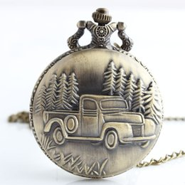 $enCountryForm.capitalKeyWord Australia - High Quality Antique Car Truck Pendant Quartz Pocket Watch Necklace Chain Mens New Gift for Men Women TD2041