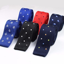 polka dotted shirt for men NZ - luxury knitting neck ties 5 cm skinny neckties for men brand ties embroider dot man neck ties dress shirt accessories