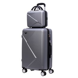 spinner carry luggage UK - Designer-Travel suitcase set Rolling Luggage Spinner trolley case 20inch boarding wheel Woman Cosmetic case carry-on luggage travel bag