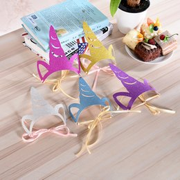 Wholesale Unicorn Party Glitter Hat Boy Girl Happy Birthday Decorations Hats Baby Shower Mask Party Supplies Fashion PPA230