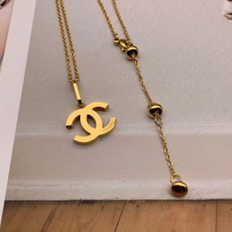 men gold pendants china 2019 - Top quality Wholesale Brand Jewelry Lover's Pendant Necklace Men Women long letter Charm Necklace Fashion Stainless