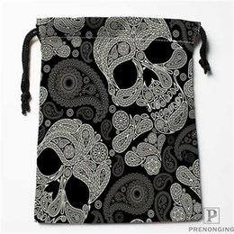 Black Swimming Toys Australia - Custom Printing Black Skull (1) Drawstring Shopping Bags Travel Storage Pouch Swim Hiking Toy Bag Unisex Multi Size18-12-31-14