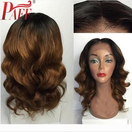tone hair color lace fronts Australia - PAFF 360 Lace Frontal Wig Ombre Color Body Wave Lace Front Human Hair Wigs Two Tone Peruvain Remy Hair Wig