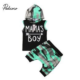 Hoodies Pants Kids Clothes Set UK - 2018 Brand New Toddler Infant Baby Kids Boys Outfits Sleeveless Hoodie T-shirt Top+ Pant PP Shorts Camo 2PCS Set Summer Clothing