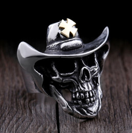 $enCountryForm.capitalKeyWord NZ - 316L Stainless Steel Punk Style Gold Cowboy Skull Ring High Quality Jewerly for Man US Size 7-14