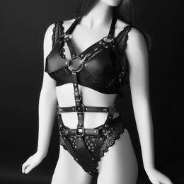 $enCountryForm.capitalKeyWord NZ - Sexy Leather Bodysuit Halter Bra Harness Strap Black Waist Belt Bondage Lingerie Suspender Women Female Garter Belt Clubwear