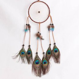 pretty weave Australia - Pretty Feather Hand Woven Dream Catcher Wind Chimes Dreamcatcher Car Decoration Pendant Home Decorative Crafts Birthday Gifts