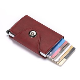 $enCountryForm.capitalKeyWord UK - Retro Style Horse Leather PU Aluminum Alloy Card Package Men's Magnetic Buckle Brake Cartridge Card Wallet