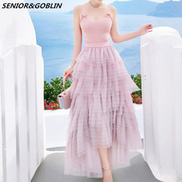 d2fff52fd5b466 2019 Summer Pink Knitted Tank Tops Women Tulle Mesh Skirt 2 Piece Set Sexy  Crop Tops+Layered Ruffle Asymmetry Long Skirt Sets