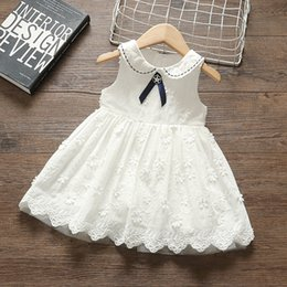 beautiful baby girl party dress Canada - Baby 1 birthday party dress pure white embroidery leaves small flower princess dress piano prom beautiful girl