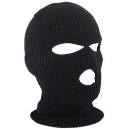 $enCountryForm.capitalKeyWord Australia - Relefree Unisex Man and woman 3 Hole ski Mask Balaclava Black Knitted Hat Face Shield Beanie Cap Snow Winter Warm