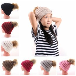 d84221142ebac Kids Pom Pom Beanies 13 Colors Knitted Fur Poms Cable Slouchy Skull Caps  Outdoor Warm Hats Child Skullies Beanies OOA5986