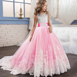 dress girls pink long wedding Australia - Kid Girls Elegant Wedding Pearl Petals Girl Dress Princess Party Pageant Long Sleeve Lace Tulle For 3 4 5 6 7 8 9 10 11 12 Yrs Q190522