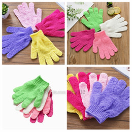 nylon bath glove Canada - Hot Colorful nylon body cleaning bath gloves exfoliating bath gloves five-finger bath gloves household products T2I5059