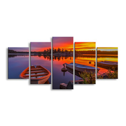 Art Canvas Prints Australia - 5 pieces high-definition print Sunrises and sunsets canvas prints painting poster and wall art living room picture RCRL5-003