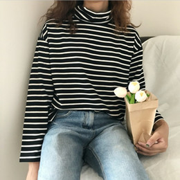 Frühling und Herbst Langarm Rollkragen Striped Casual T-Shirt lose Pullover regualr Tops Female Tücher