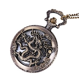 Watches anime online shopping - Vintage Retro Bronze Dragon Quartz Pocket Watch Pendant Chain Necklace Clock Anime Pocket Watch Clock Pendant