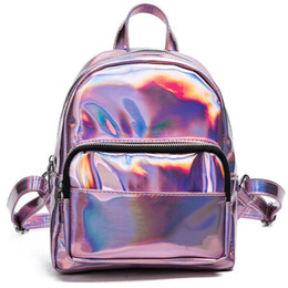 boys backpacks wholesale Canada - Fashion Laser backpack Hip-hop Style Hologram Laser Backpack Women Soft PU Leather Backpack School Bags For Girls Free Shipping