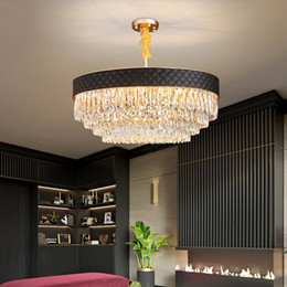 Rustic pendant lamp online shopping - New design high end crystal chandelier lighting gold creative leather chandeliers lights pendant lamps for living room bedroom