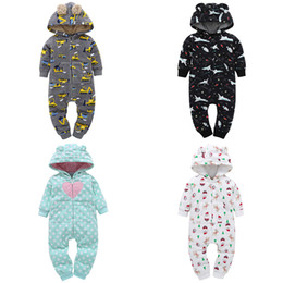 Yellow Hooded Jumpsuit Australia - Autumn & Winter Infant Baby Girls Clothes Fashon Print Fleece Jumpsuit Pocket Bebes Boy Clothing 2019 New Brand Hooded Costume J190524