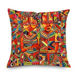 Chinese  African Abstract Portrait Painting Cushion Cover 45x45cm African Culture Home Decorative Linen Pillows Cover for Sofa Chair Seat manufacturers