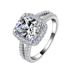 cz 925 china ring NZ - Fashion Jewelry 925 Sterling Silver Wedding Rings For Women With 8mm CZ Diamond Engagement Ring Wholesale