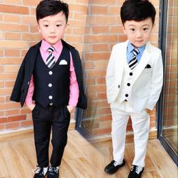 $enCountryForm.capitalKeyWord Australia - 2019 New Boys Suits for Weddings Black White Kids Prom Suit Baby Summer Set Costume Garcon Mariage 3pcs (Coat+Vest+Pants)