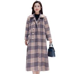11597af35 YICIYA Roxo Xadrez De cashmere Casaco De Lã Das Mulheres do Vintage  outerwear plus size grande oversized casacos longos inverno 2019 roupas de  primavera