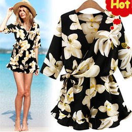 7b886f7ae7 New Large Size Women's Chiffon Print V Neck Middle Sleeve Jumpsuit Fashion Trousers  Skirt Loose Shorts Rompers Women Jumpsuit G3 Y19061001