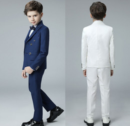 Prom Boys Jacket Australia - 2019 Royal Blue Long Sleeve Boys Prom Tuxedos Suits Double-Breasted Male Children Formal Wedding Gowns Custom Made (Jacket+pants+bow-tie)