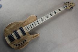 Electric Bass Guitar One UK - factory Custom Shop Burlywood One Piece Neck Through body Fodera 5 Strings Electric Bass Guitar with Active Pickups 15-6-25