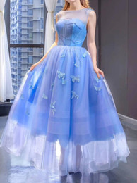 lake springs Canada - Lake Blue See Through Neckline Prom Dress Lace Up Back Women Ball Gown with Beads and Butterfly robe de soiree