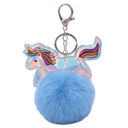 Artificial Chains Wholesalers Australia - 8cm Artificial Pompom Unicorn Keychain Fluffy Faux Rabbit Fur Ball Horse Key Chain Leather Bag Car Keyring Gift For Women