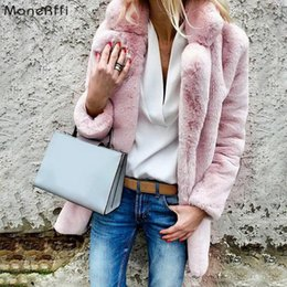 furs wholesale UK - SHUJIN Women Faux Fur Coats Winter Solid Fashion Open Point Outwear Female Long Sleeve Warm Thick Fluffy Jacket Coat