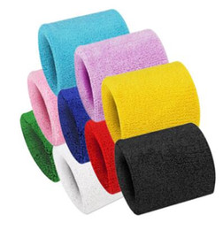 terry wrist band wholesale UK - High Quality Cotton Sweat Wrist Band Bracers Sport Equipment Terry Cloth Support Protective Sweatbands Football Basketball Fitness Gym Yoga