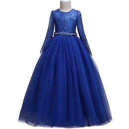 Chinese  High-end Summer Tulle Lace Pageant Flower Girl Dresses For Girls Long Sleeve Lace Dress Zircon Elegant Piano Performance Princes J190618 manufacturers