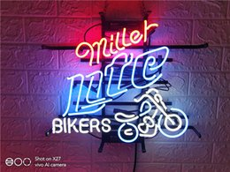 "lite signs Australia - Fashion HandcraftMILLER LITE BIKE NEON SIGN HANDICRAFT LIGHT BEER BAR PUB REAL GLASS TUBE LOGO ADVERTISEMENT DISPLAY NEON SIGNS 17"" 19"" 24''"